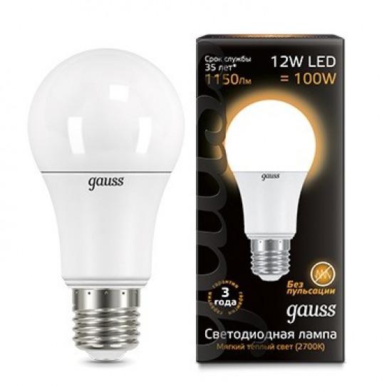 Лампа Gauss LED A60 12W E27 2700K 1/10/40